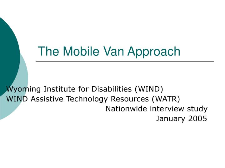 the mobile van approach n.