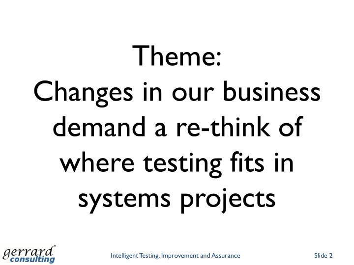 Theme changes in our business demand a re think of where testing fits in systems projects