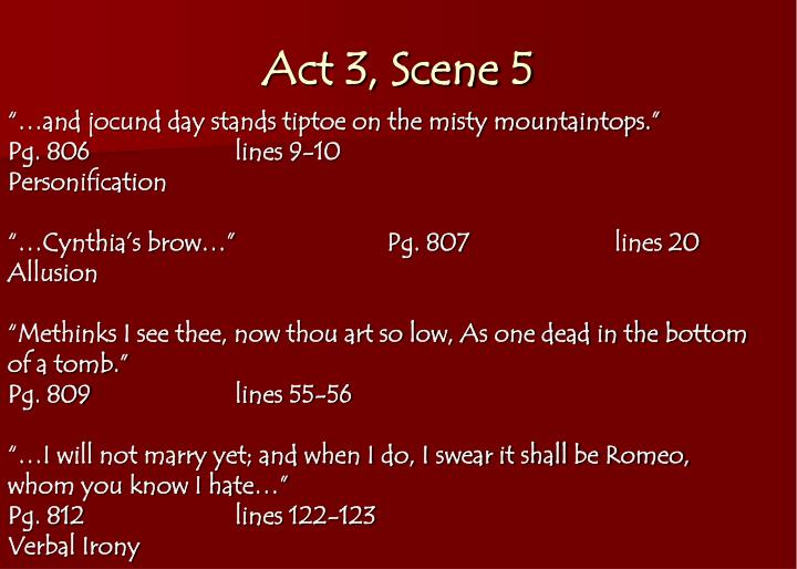 ppt romeo amp juliet literary term notes powerpoint  act 3 scene 5 ""