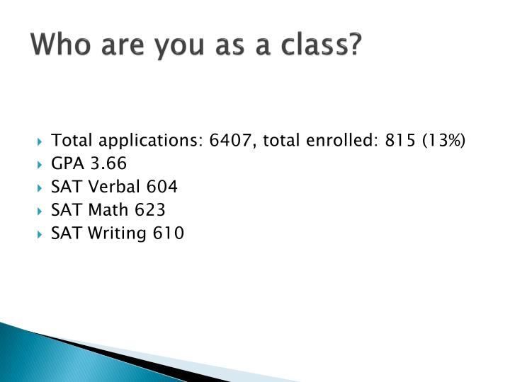 Who are you as a class?