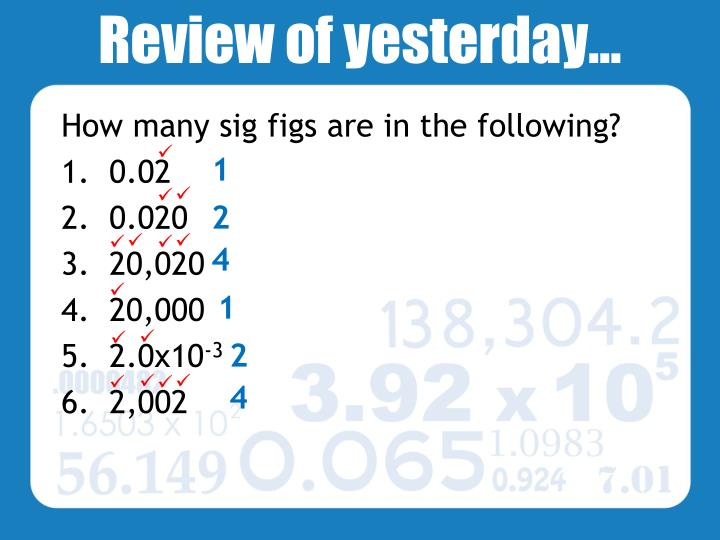 review of yesterday n.