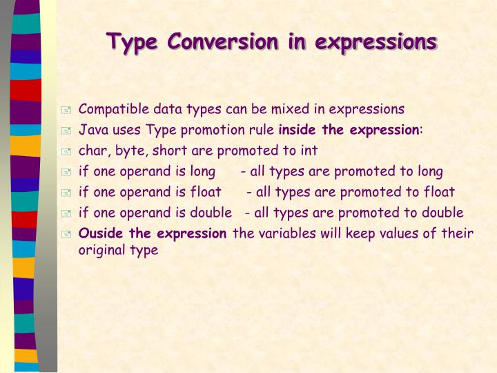 Type Conversion in expressions