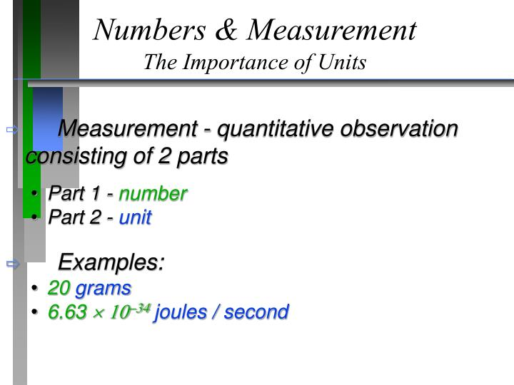 Numbers & Measurement