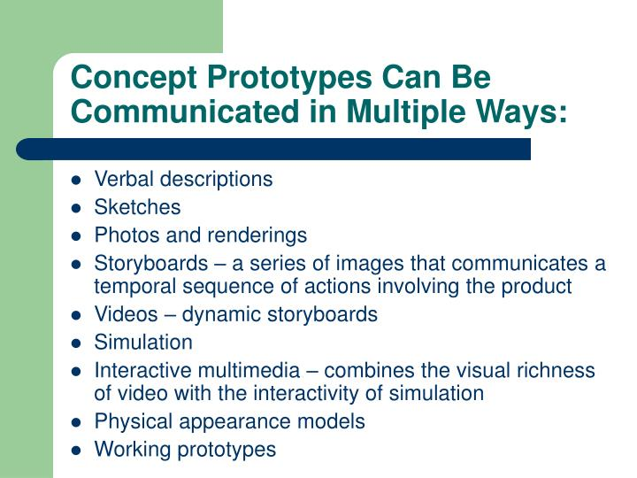 Concept Prototypes Can Be Communicated in Multiple Ways: