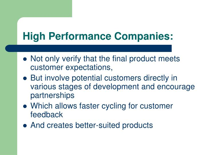 High Performance Companies:
