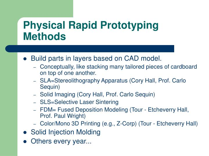 Physical Rapid Prototyping Methods