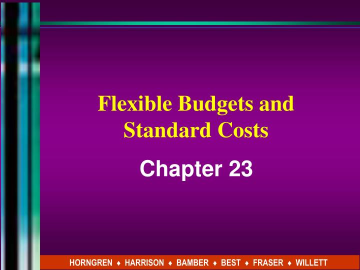 flexible budgets and standard costs n.