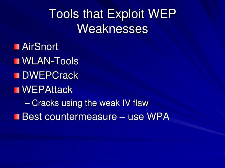 Tools that Exploit WEP Weaknesses