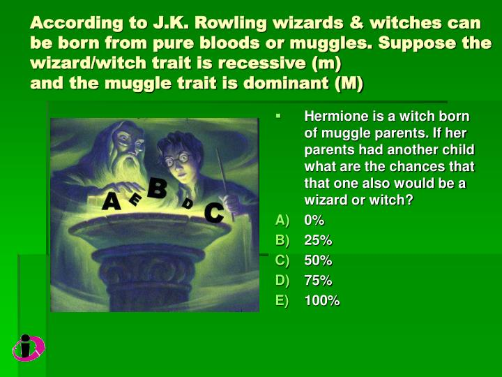 According to J.K. Rowling wizards & witches can be born from pure bloods or muggles. Suppose the wizard/witch trait is recessive (m)