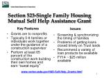 section 523 single family housing mutual self help assistance grant