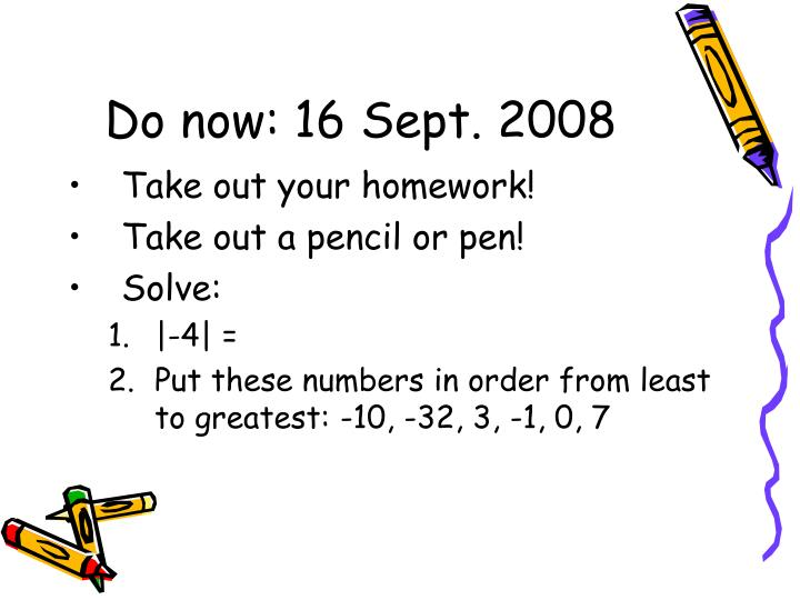 Do now 16 sept 2008