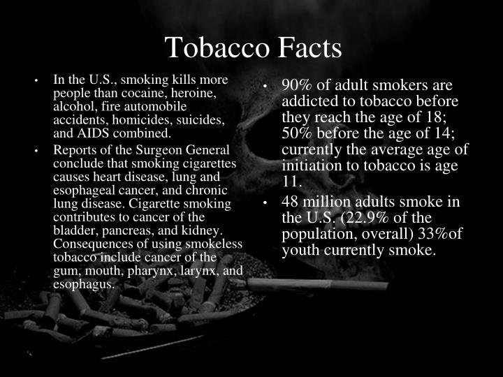 In the U.S., smoking kills more people than cocaine, heroine, alcohol, fire automobile accidents, homicides, suicides, and AIDS combined.