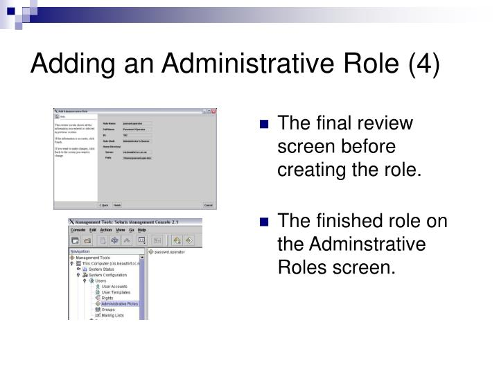 Adding an Administrative Role (4)