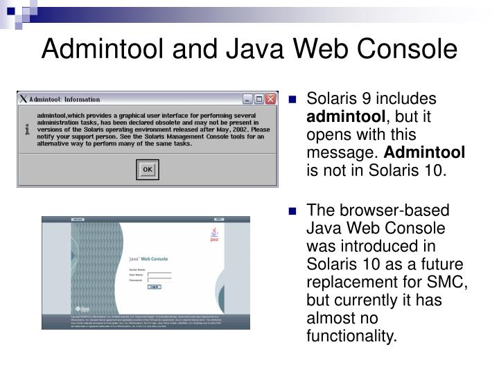 Admintool and Java Web Console