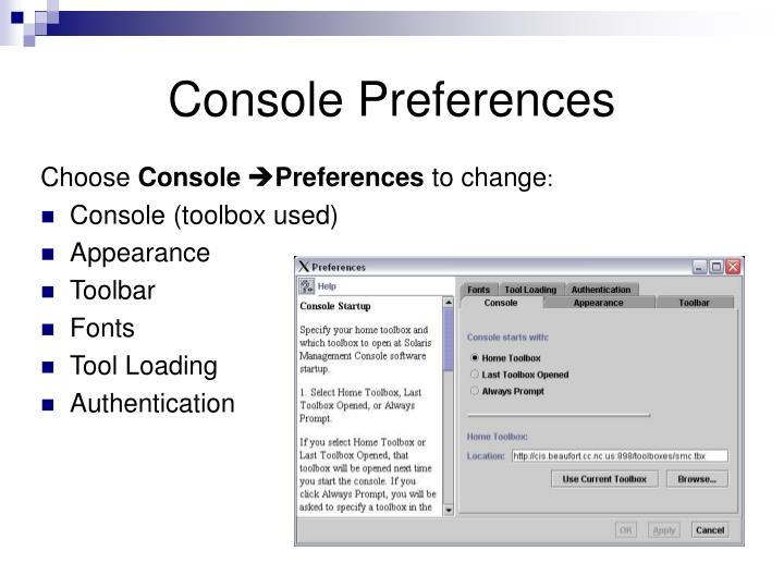 Console Preferences