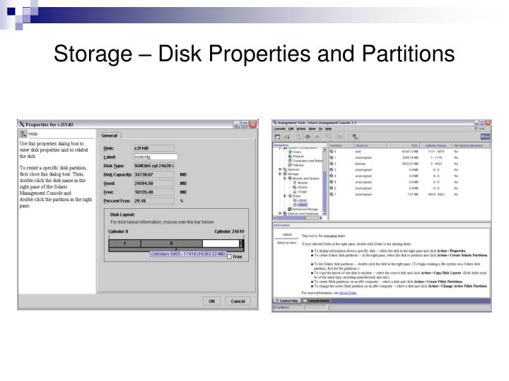 Storage – Disk Properties and Partitions