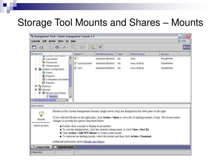 Storage Tool Mounts and Shares – Mounts