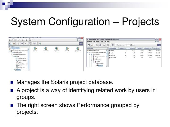 System Configuration – Projects