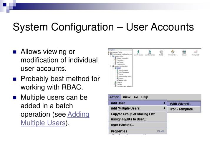 System Configuration – User Accounts