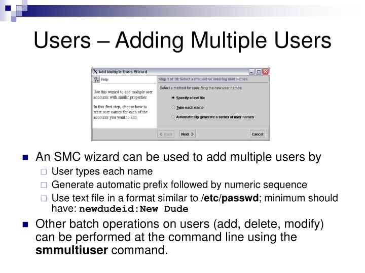 Users – Adding Multiple Users