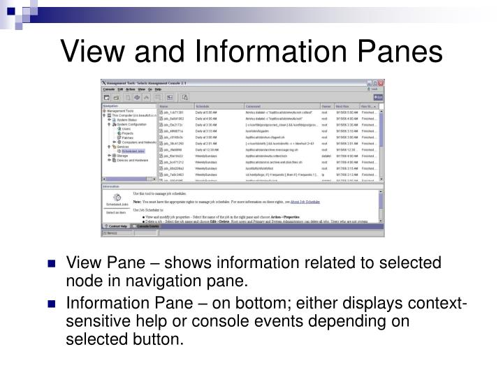 View and Information Panes