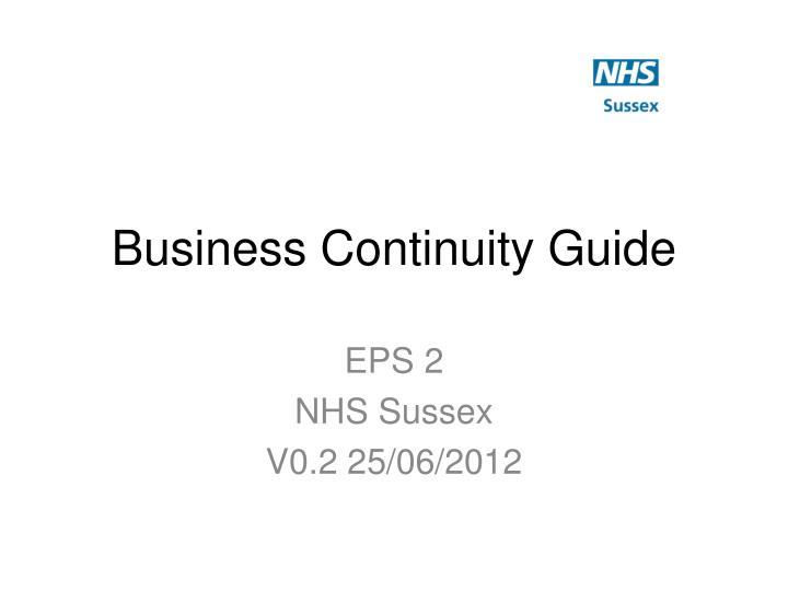 business continuity guide n.