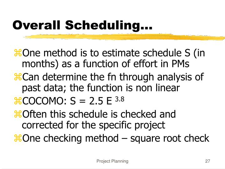 Overall Scheduling...