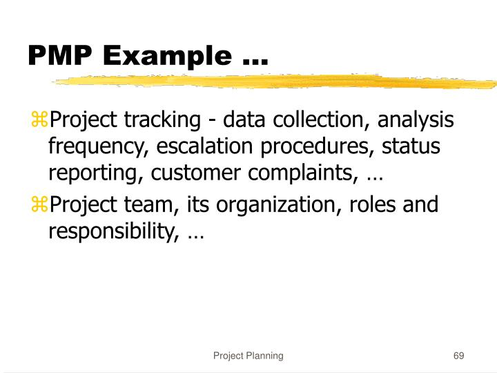 PMP Example ...