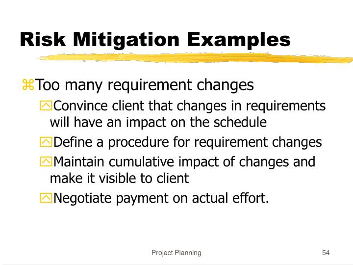 Risk Mitigation Examples