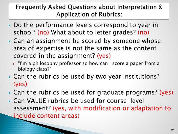 Frequently Asked Questions about Interpretation & Application of Rubrics:
