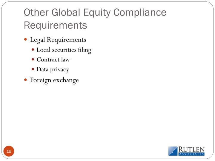 Other Global Equity Compliance Requirements