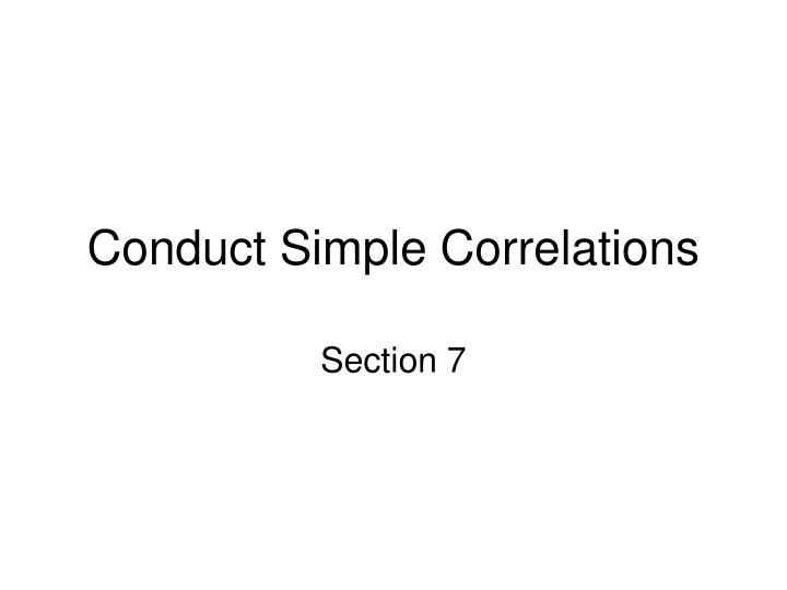 conduct simple correlations n.
