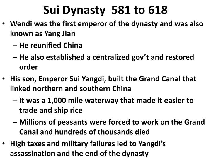 Sui dynasty 581 to 618