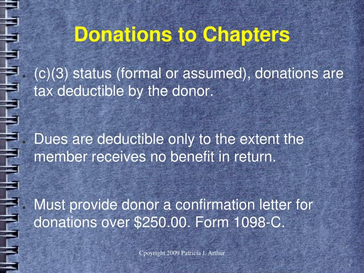 Donations to Chapters