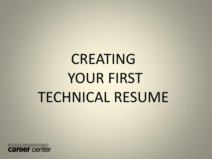 creating your first technical resume n.