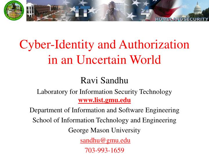 cyber identity and authorization in an uncertain world n.