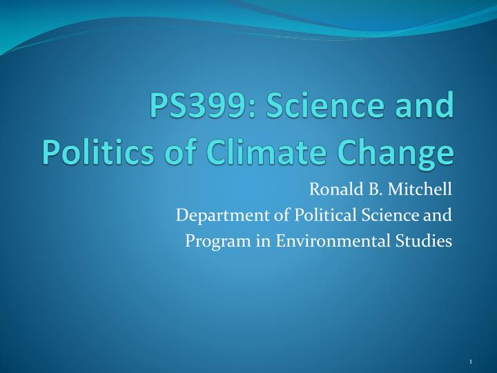 ps399 science and politics of climate change n.