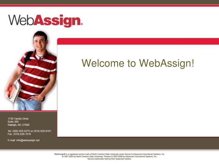 welcome to webassign n.