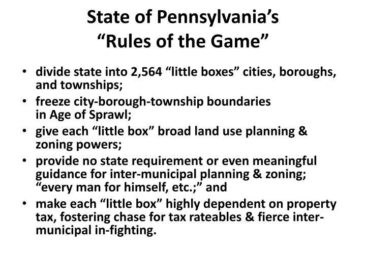 State of pennsylvania s rules of the game