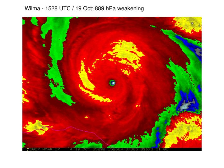 Wilma - 1528 UTC / 19 Oct: 889 hPa weakening