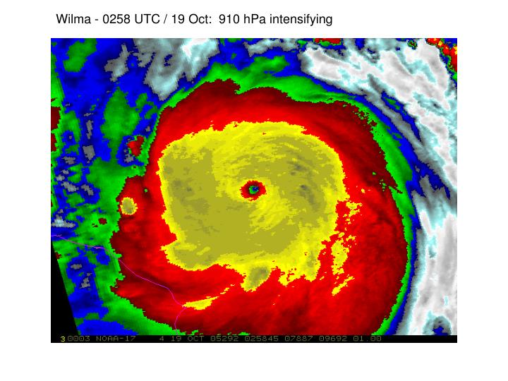 Wilma - 0258 UTC / 19 Oct:  910 hPa intensifying
