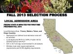 fall 2013 selection process