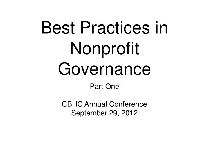 best practices in nonprofit governance n.