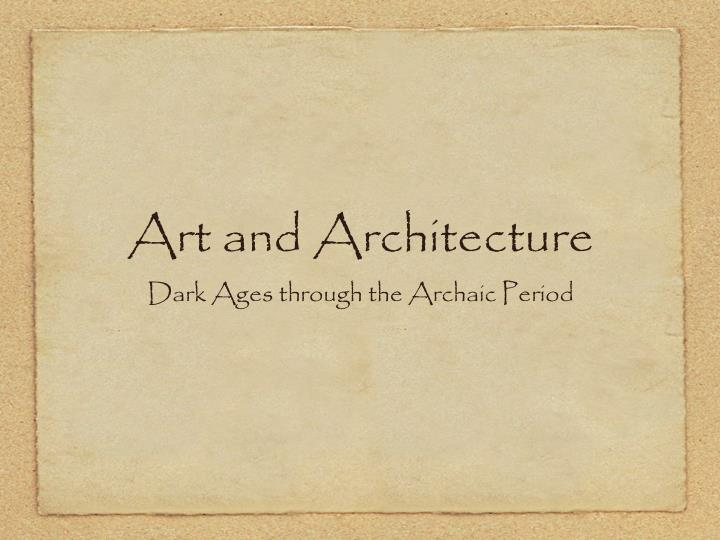 art and architecture n.