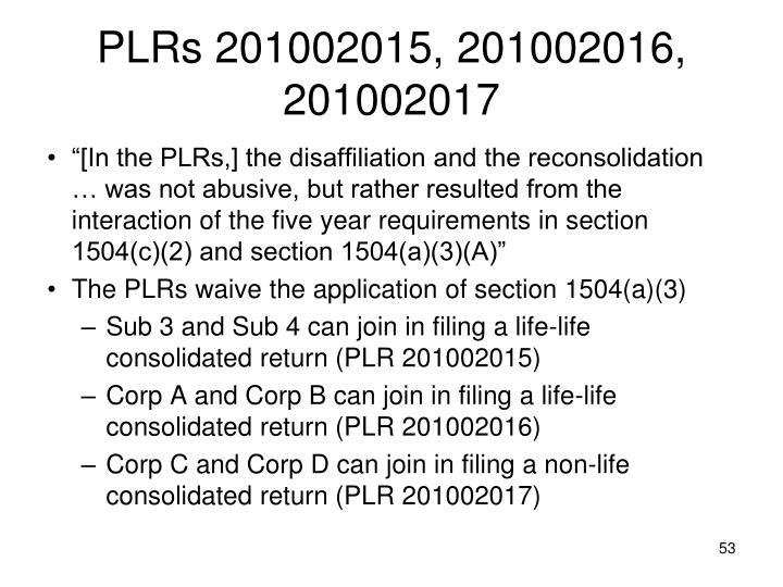 PLRs 201002015, 201002016, 201002017