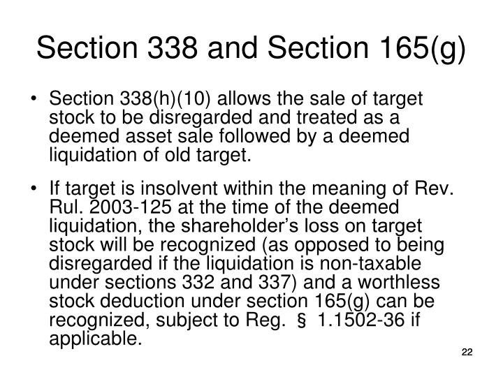 Section 338 and Section 165(g)