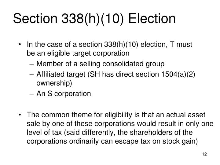 Section 338(h)(10) Election