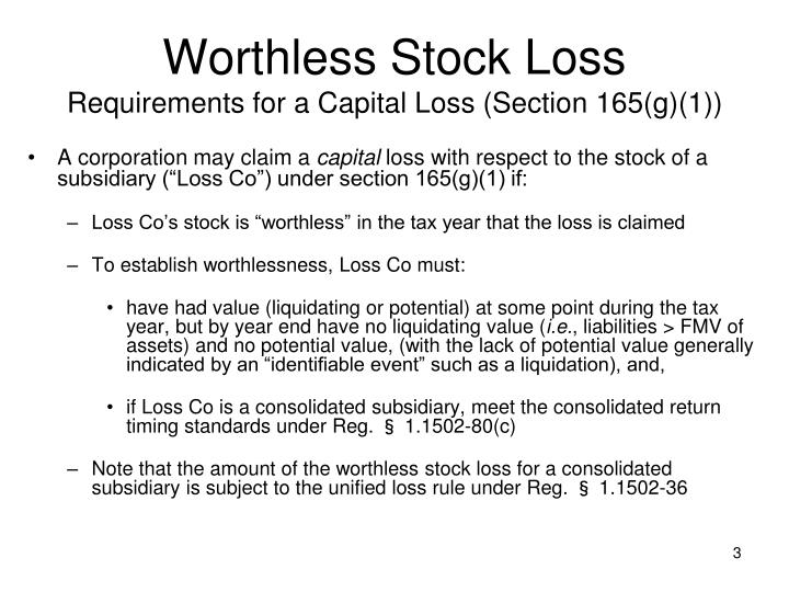 Worthless stock loss requirements for a capital loss section 165 g 1