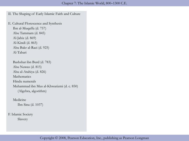 II. The Shaping of Early Islamic Faith and Culture