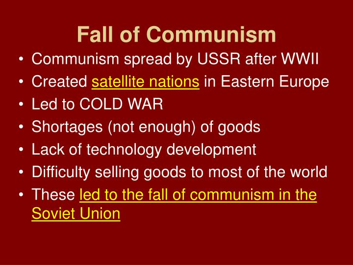 the shocking fall of communism in eastern and central europe The soviet union and the establishment of communist regimes in eastern europe, 1944-1954: a documentary collection leonid gibianskii institute of slavic studies – russian academy of sciences.